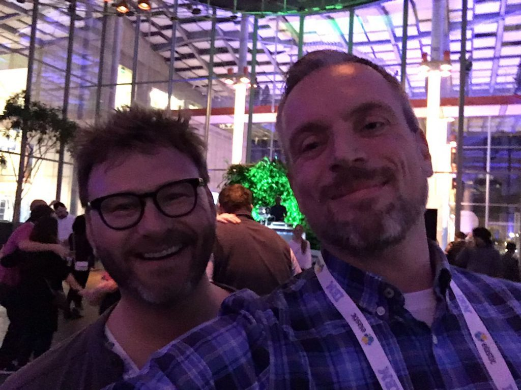 Steven Schuurman (CEO of Elastic) and me at the party at the planetarium